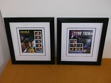 STAR TREK 50TH LIMITED EDITION 2016 2017 STAMP PANE KIRK SPOCK JANEWAY FRAMED