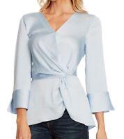 Vince Camuto Women's Blouse Blue Size Medium M Crepe Satin Trim $89 #342