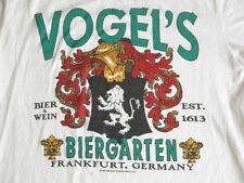 Rare Vtg 90s VOGEL'S Biergarden Beer & Wein Frankfurt Germany T-Shirt Mns M