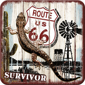 Nostalgic Art dessous de Verre Métalliques Itinéraire 66 Survivor Aventure 9 x 9