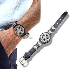 Men Western Silver Ranger Star Dome Leather Strap Buckle Bracelet Bangle Cuff H6