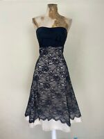Warehouse Dress 8 Black Strapless Lace Champagne Fit Flare Aline Occasion Party