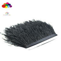 1/5/10 Meters Black Ostrich Feather Cloth Trims 3.15-6 Inch/8-15 Cm Carnival Diy