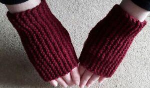 Wrist Warmers, fingerless Gloves, hand knitted maroon aran 25% wool 75% Acrylic