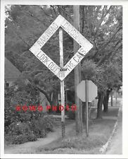 Railroad Crossing Look Out For The Cars - Wooden Sign, Vintage 8x10 B&W Photo