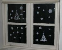 Christmas Window Decorations 2 Chrismas Trees and 36 Snowflakes. Static Cling