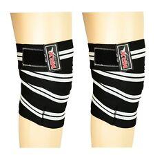 Power Weight Lifting Knee Wraps Straps Support Gym Training Bandage, Black White