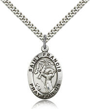"Saint Francis Of Assisi Medal For Men - .925 Sterling Silver Necklace On 24"" ..."