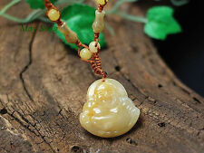 Laughing Buddha Maitreya Buddha of Happiness Topaz Yellow Jade Amulet Necklace