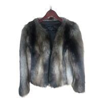 Moda International Womens Jacket Coat Brown Black Waist Length Open Faux Fur XS