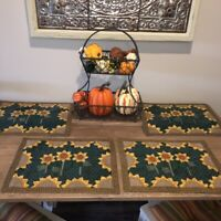 Quilted Placemats Set of 4 Applique Sunflowers Green Gingham Borders Country