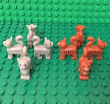 Lego 8 City Light Gray / Dark Orange Standing Style Cats Lot (4 Of Each Color)