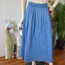 Vintage Long Maxi High Waisted Pleated Jean Denim Skirt Modest No Vent/Slit S/M