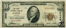 1929 Usa $10 Baker, Or Brown Seal National Currency Note Ch#2865 Low S/N