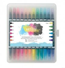 12 Pack Docrafts Artiste Permanent Dual Tip Pens Thick & Thin - Bright Colours