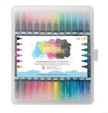 12 Pack Docrafts Artiste Permanente Doble Punta Plumas Grueso & Delgado-Colores Brillantes