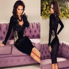 Sz 8 10 Black Lace Long Sleeve Bodycon Velvet Cocktail Prom Slim Midi Dress