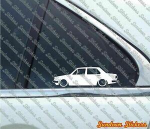 2x Lowered car stickers - for VW Jetta Mk1 sedan 4-Door | classic L587