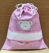 Sacchetto asilo/nascita tessuto vicky rosa inserto tela aida con faccina orso