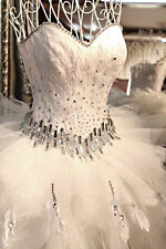 FEATHERS SHORT FRONT LONG BACK Bride Wedding Dress Diamonds Gown ALL SIZES! NEW
