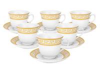 Royalty Porcelain Miniature Cofee Set for 6, 24K Gold-plated, Greek Key Pattern