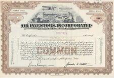 AIR INVESTORS INC. SPECIMEN STOCK CERTIFICATE RARE AVIATION 1929 GREAT VIGNETTE