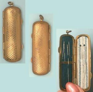 Antique Brass Chatelaine or Pendant Needle Case * American * Circa 1900s