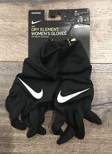 New Nike Dry Element Women's Running Gloves Black Touch Screen Technology Medium