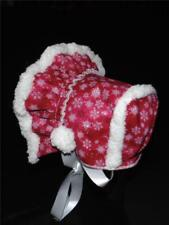 Handmade Red Sparkles with White Snowflakes Sherpa Lined Bonnet
