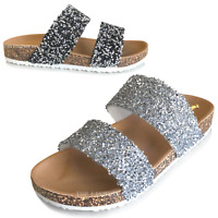 NEW Women's Slide Sandals Rhinestone Dual Strap Slip On Flops Shoe Size 5 to 10