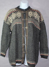 Womens SQUAW VALLEY NORDIC STYLE Blue Red SWEATER PEWTER CLASPS Sz PL 100% WOOL