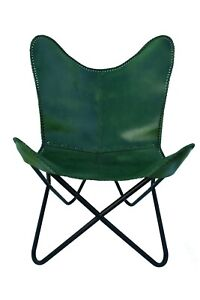 HANDMADE VINTAGE BUFFALO LEATHER BUTTERFLY GREEN CHAIR WITH IRON PIPES