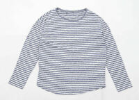 New Look Womens Size 12 Striped Cotton Blend Grey Long Sleeve T-Shirt (Regular)