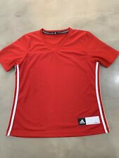 NEW Adidas Boys (Sz Medium) Athletic Short Sleeve Shirt V Neck 3-Stripes Jersey