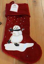 New Pottery Barn Kids Luxe Velvet Jolly Snowman Christmas Holiday Stocking