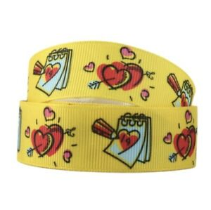 By The Yard 7/8 Inch Yellow Printed Valentines Day Grosgrain Ribbon Lisa