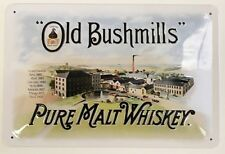 Old Bushmills Pure Malt Whiskey embossed steel sign  300mm x 200mm (sg)