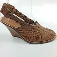 Tommy Bahama Tan Woven Leather Wedge Heels Sz 6 Priscilah Sandals Slingbacks New