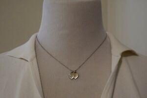 TIFFANY & CO 18k Wht Gold Diamond Return to Tiffany 2 Heart Tag Pendant Necklace