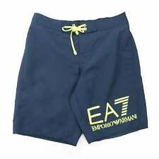 EA7 Neon Yellow Logo Swim Shorts Navy Blue