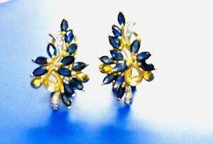 14K Yellow Gold Marquise Gemstone Blue Sapphire and Diamond Earrings