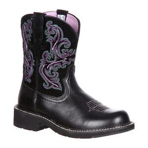 ARIAT Womens Fatbaby II Western Cowboy Boots Black Pink 10004729 Size 8 B