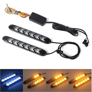 2x Flowing LED Knight Light Strip Arrow Flasher DRL Turn Signal Lamp Universal
