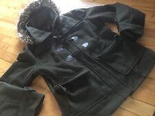 Forever WET SEAL Fur Trim Hood Olive Heavy Winter Jacket  Chic  Parka L/LX