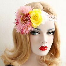 Floral Crown Headband Flower Fascinator Hair Racing Yellow Pink White Carnival