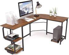 L Shaped Computer Desk Industrial Corner Writing Desk With Adjustable Shelves