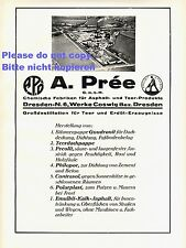 Asphalt & Teer Prée Dresden & Coswig XL 1928 Reklame Werbung Pree +