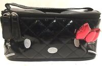 Rare Loungefly Hello Kitty Black Quilted Style Patent Leather Cosmetic Bag Purse