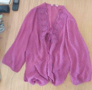 Ladies 'TU' Pink sheer long sleeve Top. Size 16. vgc.