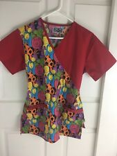 Dress A Med XS Scrub Top Short Sleeve Front Pockets Tie Back Animals